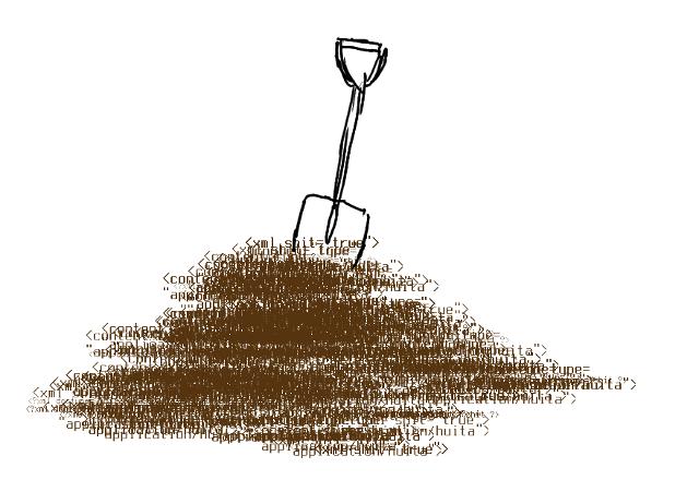 xmlfuzzer logo — a spade in a heap of XML